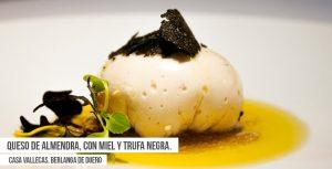 Queso de almendras con miel y trufa negra de Casa Vallecas. Tapa de la Ruta Dorada de la Trufa de Soria