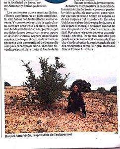 Detalle del reportaje de ABC sobre el cultivo de la trufa negra en Soria con Trufgourmet.