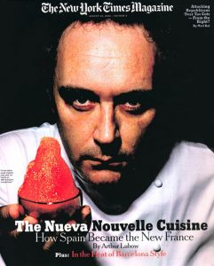 """16 years ago a young Ferran Adriá showed up on the cover oFerran Adriá on the cover of """"The New York Times"""" in 2003."""