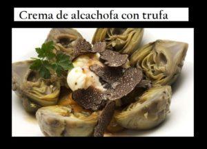 Crème d'artichaut aux crevettes et truffe noire